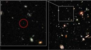 Pedaço da imagem Ultra Deep Field do telescópio Hubble mostrando a mais distante galáxia já observada.