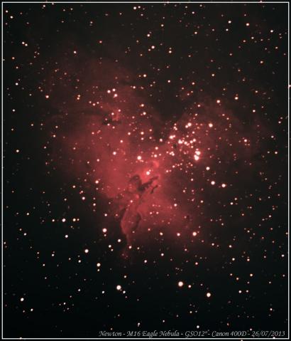 """M16 a Nebulosa da Águia. 49 frames de 20 segundos com o GSO12""""."""
