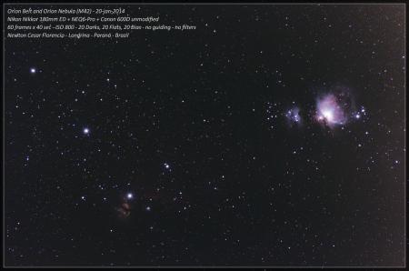 """A foto mostra o Cinturão de Órion (conhecido como """"Três Marias""""), a Nebulosa da Chama (NGC 2024), Nebulosa M43, e Nebulosa de Órion (M42). Se observar com calma ainda é possível perceber a Nebulosa Cabeça de Cavalo muito fraquinha."""