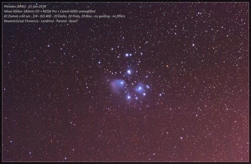 """Pleiades (M45) ou """"As Sete Irmãs"""" ou ainda, para meu pai """"Bombinha""""."""