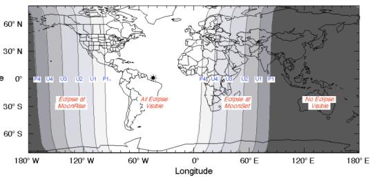 Faixa de visibilidade do eclipse é a parte mais clara do mapa. Note o Brasil em condições de visibilidade de todas as etapas do eclipse.
