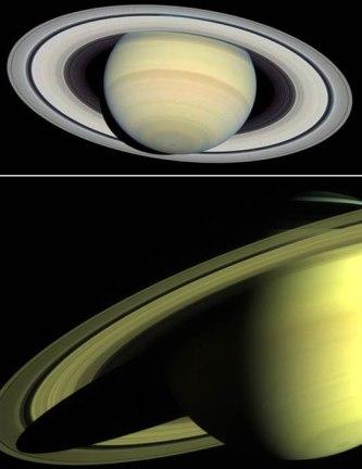 Em cima, foto feita pelo Telescópio Espacial Hubble em Março de 2004. Em baixo, Saturno registrado pela sonda Cassini em Maio de 2004.