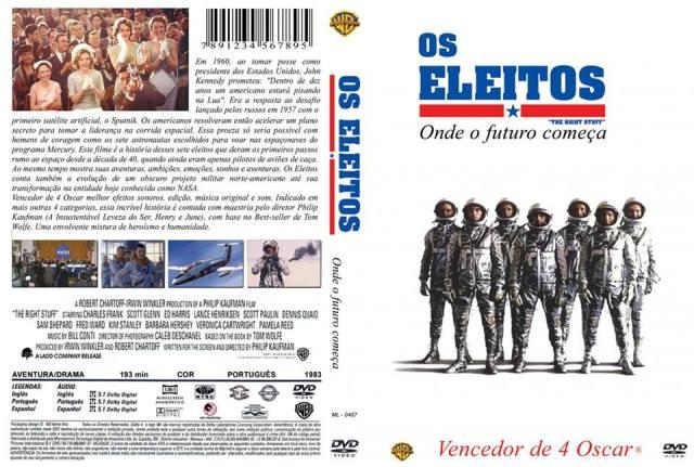 Filme Os Eleitos (original The Right Stuff); Ano: 1983; Diretor: Philip Kaufman; O filme é uma adaptação para o cinema do livro homônimo de Tom Wolfe de 1979 sobre os pilotos de testes que foram envolvidos na pesquisa aeronáutica de alta velocidade na Edwards Air Force Base, bem como aqueles que foram selecionados para serem astronautas do Projeto Mercury, a primeira tentativa de voo espacial tripulado dos Estados Unidos.