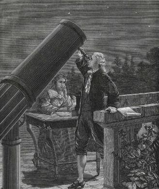William Herschel e sua irmã, Caroline Herschel em gravura.