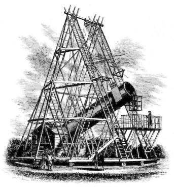 Great Forty-Foot telescope. 1,2 metros de diâmetro e 12 metros de distância focal. Construído entre 1785 e 1789, por 50 anos foi o maior telescópio do mundo.