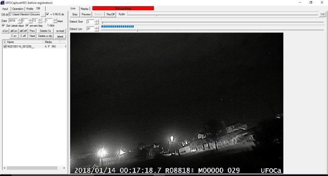 Praticamente a primeira imagem da minha estação de videomonitoramento que vai em breve integrar a rede da BRAMON.