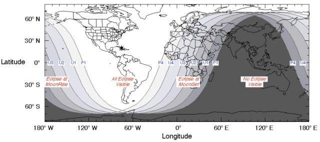 """Esse eclipse é totalmente favorável para observadores em qualquer local da América. Sendo chamado de """"Eclipse Panamericano de 2018""""."""