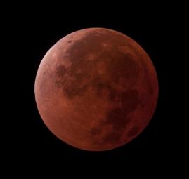 Imagem da Lua durante o Eclipse Lunar de 15/04/2014. Imagem de Marcelo Domingues (Observatório Carina - Brasília-DF)